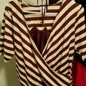 Fashion Bug. Gold metallic & brown striped top
