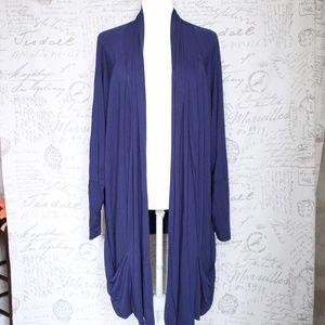 LOGO Lori Goldstein Blue Open Draped Cardigan 2X