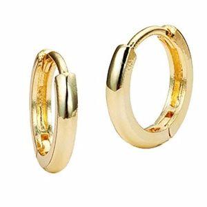 14k Solid Gold Small Plain HOOP Earrings