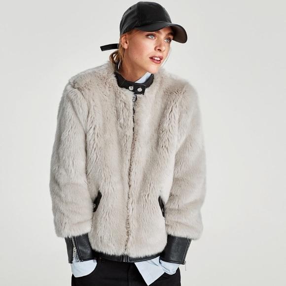 71c18a18 Zara Jackets & Coats | Woman Faux Fur Leather Bomber | Poshmark