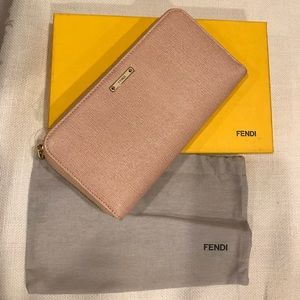 New Fendi Crayons zip around wallet in dusty pink