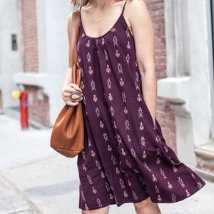 Madewell Backyard Burgundy Ikat Dress