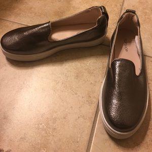Topshop Metallic Pewter Shoes Size 37/6.5