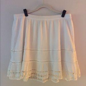 White crochet, lace, pom pom skirt