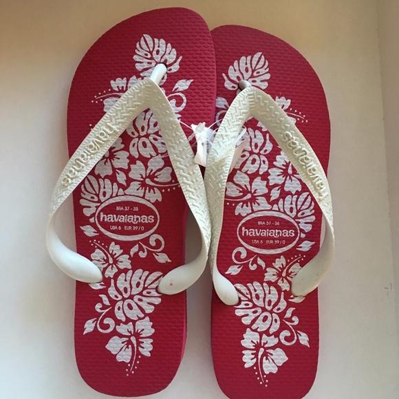 0d89e3b32b4ba Havaianas hot pink white floral flip flops 37 38 8