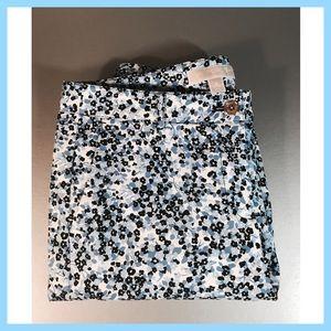 Michael Kors Skinny Floral Blue/white Pants 6 EUC