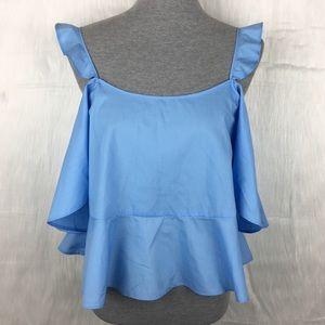 ASOS Blue Cold Shoulder Crop Top