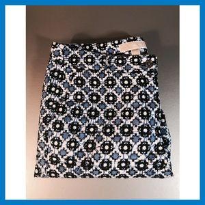 Michael Kors Skinny Pants Geometric Blues Sz 6 EUC