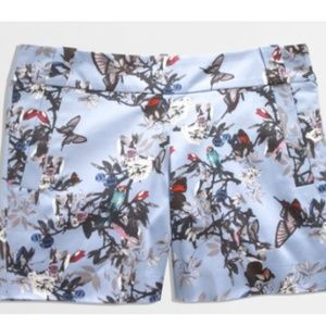J. Crew botanical bird print cotton shorts