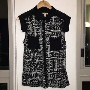 SILENCE + NOISE Geo Button Up Blouse Sz Med