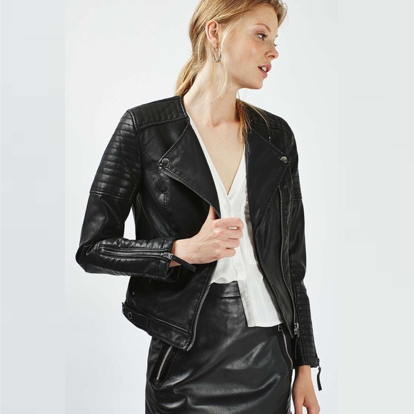 b16b5c23ae Topshop Quilted Faux Leather Biker Jacket. M 5a095187a88e7d0dcd15faf6