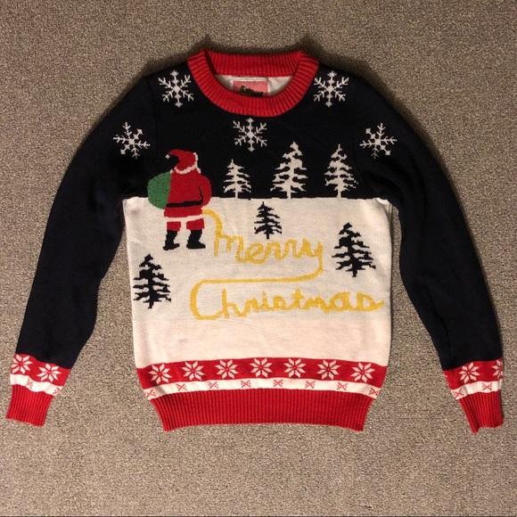 Ugly Christmas Sweater M Santa Peeing Tipsy Elves