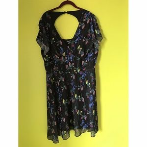 City Chic Color Floral Sheer Lined Black Dress XL