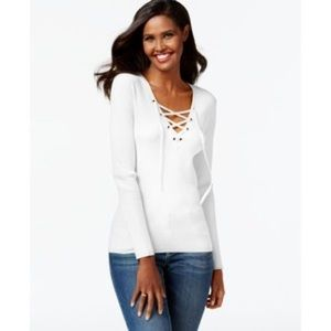 INC International Concepts lace up ribbed sweater
