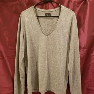 ZARA Long Sleeve Vneck Shirt / Silver Sparkly Lg.