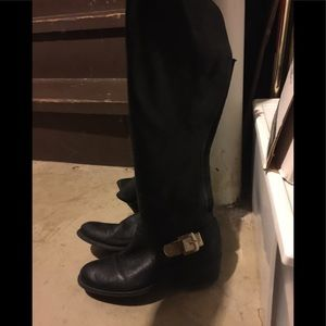 Vince Camuto Boots black leather gold ankle buckle