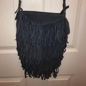 Suede Fringe Bag in Denim Blue