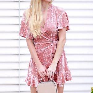 Dresses - Pink Velvet Dress