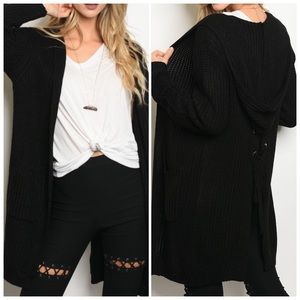 Sweaters - Black Cardigan with hood Tie Up Back