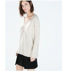 Zara knit oversized sweater v-neck