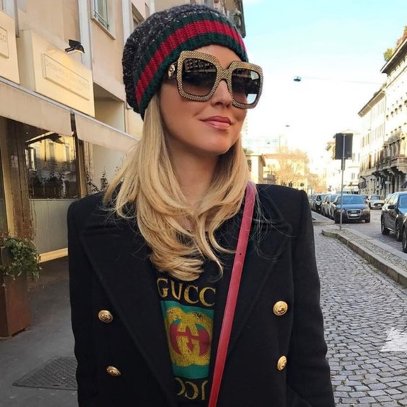 5f7c83d9d4903 Gucci Accessories - GUCCI Oversize Square Rhinestone Sunglasses GG3861