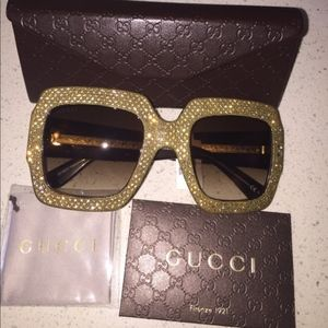 fa5d61ee56 Gucci Accessories - GUCCI Oversize Square Rhinestone Sunglasses GG3861