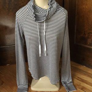 Hollister Black/Gray soft knit drawstring cowl, XS