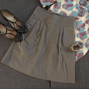 Grey High Waist Skirt with Pleats and Pockets