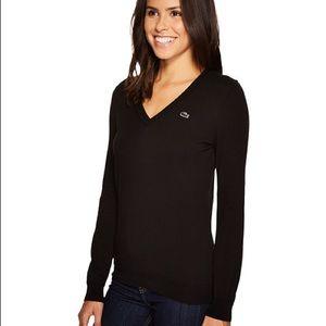 Lacoste Classic Cotton V-Neck Sweater - Black