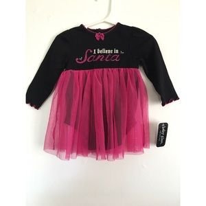 I believe in Santa Black and Pink Tutu Dress