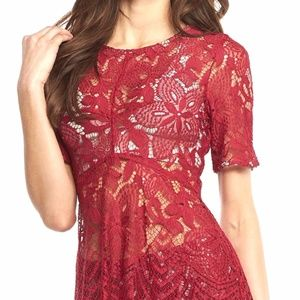 Tart - Red Lace Top - S