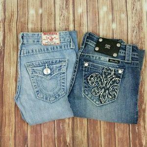 2 Pairs Jeans Sz 25 Miss Me & True Religion READ