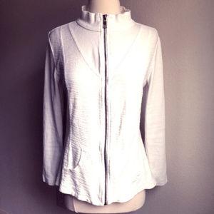 XCVI Lightweight Crochet Back Jacket Size S White