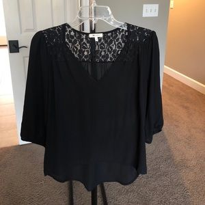 Black High/Low Top with Lace Detail