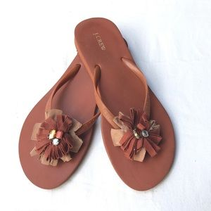 JCrew burnt orange flip flops flower w/rhinestones