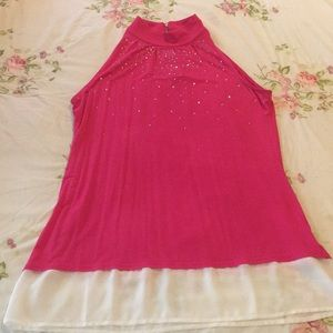 Beautiful Rhinestone Pink and Cream Top Blouse