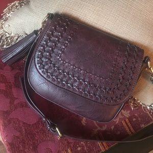 Handbags - Boho Burgundy Braided Crossbody Tassel Saddlebag