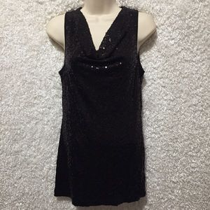 Karen Kane all black sequins blouse tank M