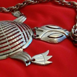 Jewelry - Large silver turtle necklace by Alan