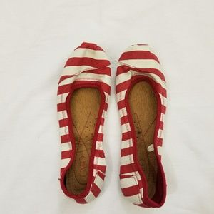 Cato Red & White Striped Flats