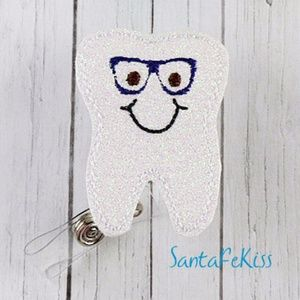 Other - Smiling Tooth man with glasses Vinyl Badge Reel