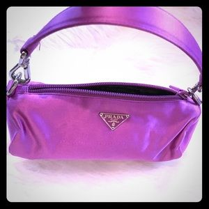 Prada small purple satin bag, zipper, handle