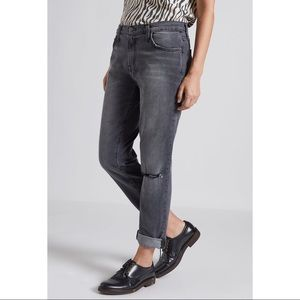 Current/Elliott Gray Ripped Knee Boyfriend Jeans