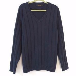 NEW Brooks Brothers Navy Cotton V-Neck Sweater - M