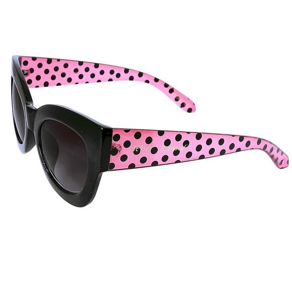 d6c56efe14 Betsey Johnson Pink Black polkadot Sunglasses NWT