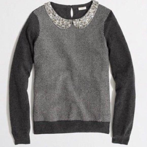 J. Crew Herringbone Jeweled Collar Sweater