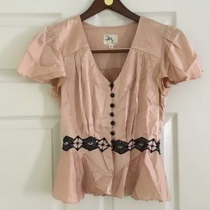 Milly silk and sequin peplum top.