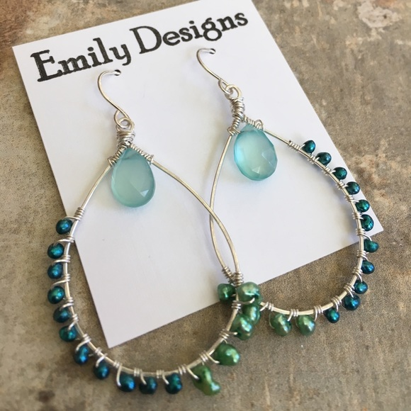 emily designs Jewelry | Tropical Blues Wire Wrap Pearl Sterling ...