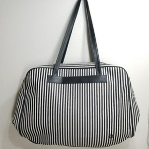 Oscar de la Renta Striped Big Travel Tote Bag