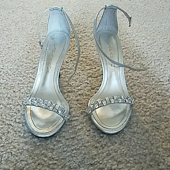 7d71f7329a Caparros Shoes | Silver Jeweled Strappy Sandal Euc | Poshmark